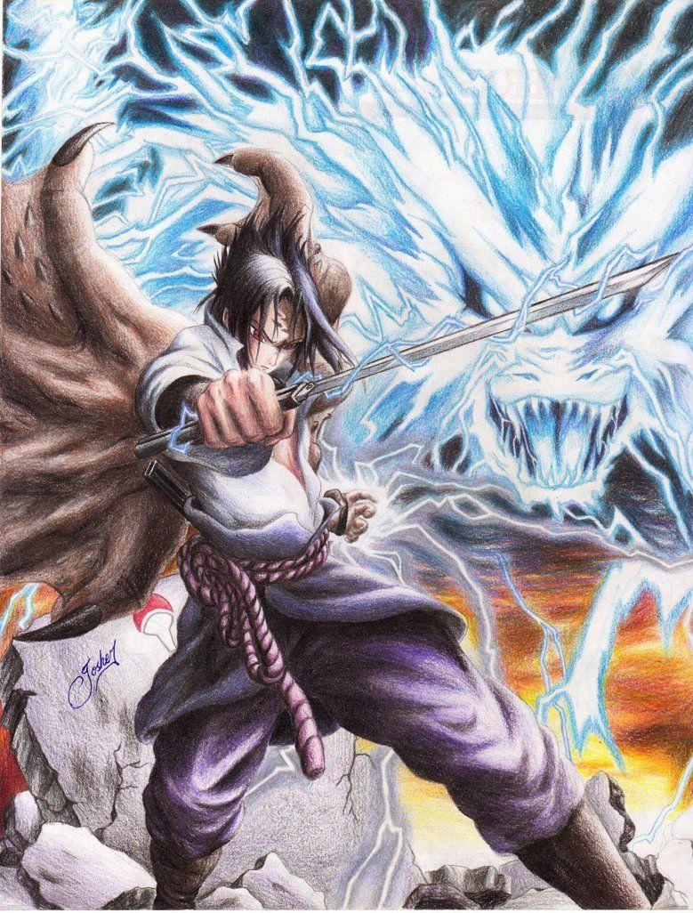 Sasuke Chidori Kirin Arte De Naruto Personajes De Naruto Sasuke