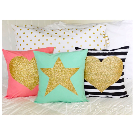 Decorative Throw Pillow Covers With Gold Or Silver
