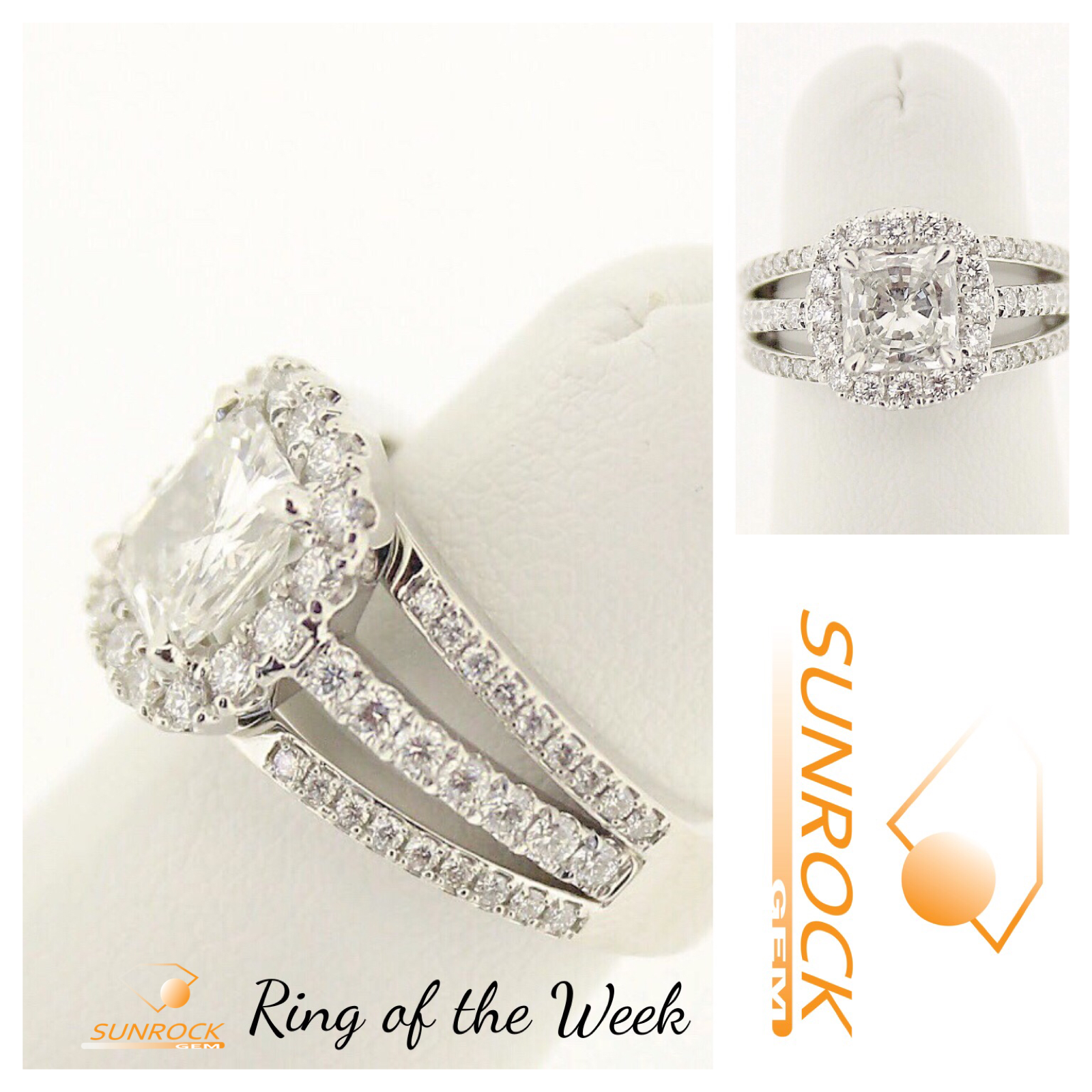Sunrock Gem Ring Of The Week Pave Triple Shank Halo Ring