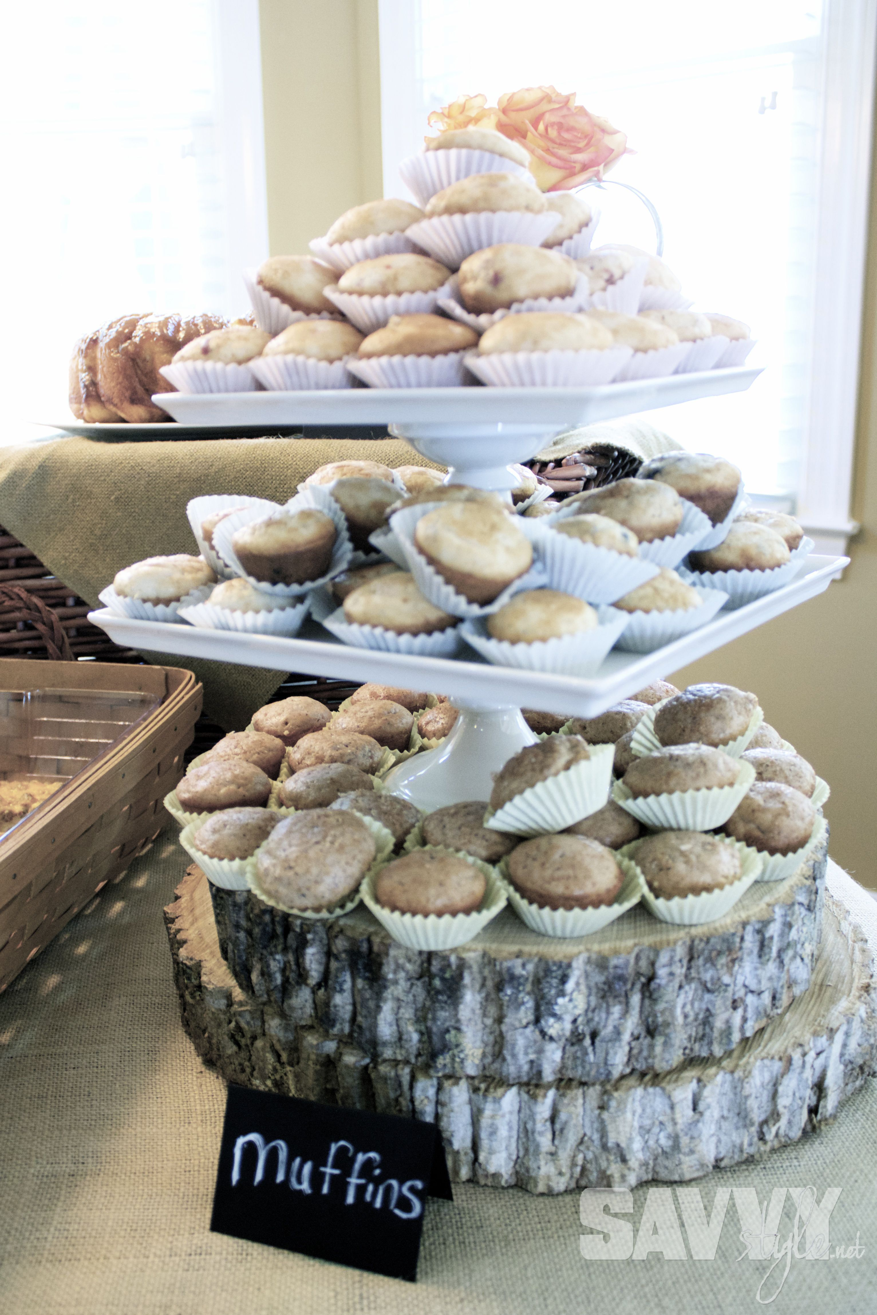 Muffin Tower on wood slabs bridal-shower-muffins http://savvystyle.net/2013/04/21/rustic-bridal-shower-brunch/