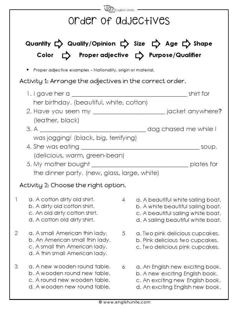 The order of adjectives worksheet focuses on sorting a series of