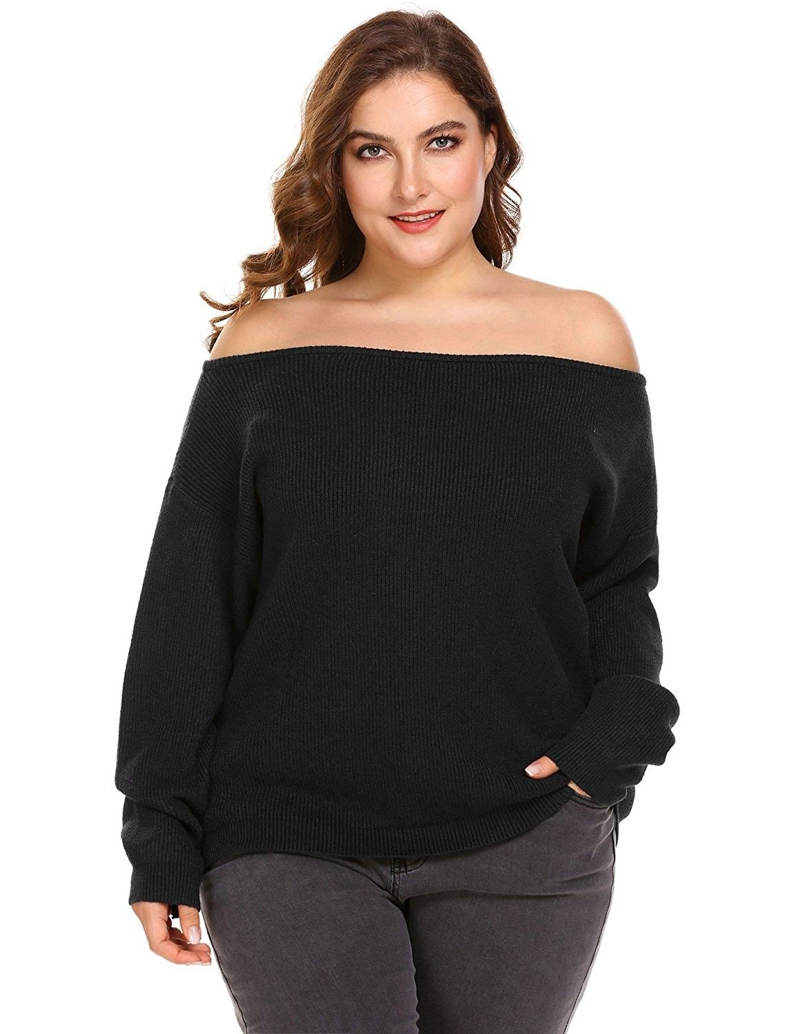 e59d844370d Womens Plus Size Sweater Cold Shoulder Tops Long Sleeve Loose Knit ...