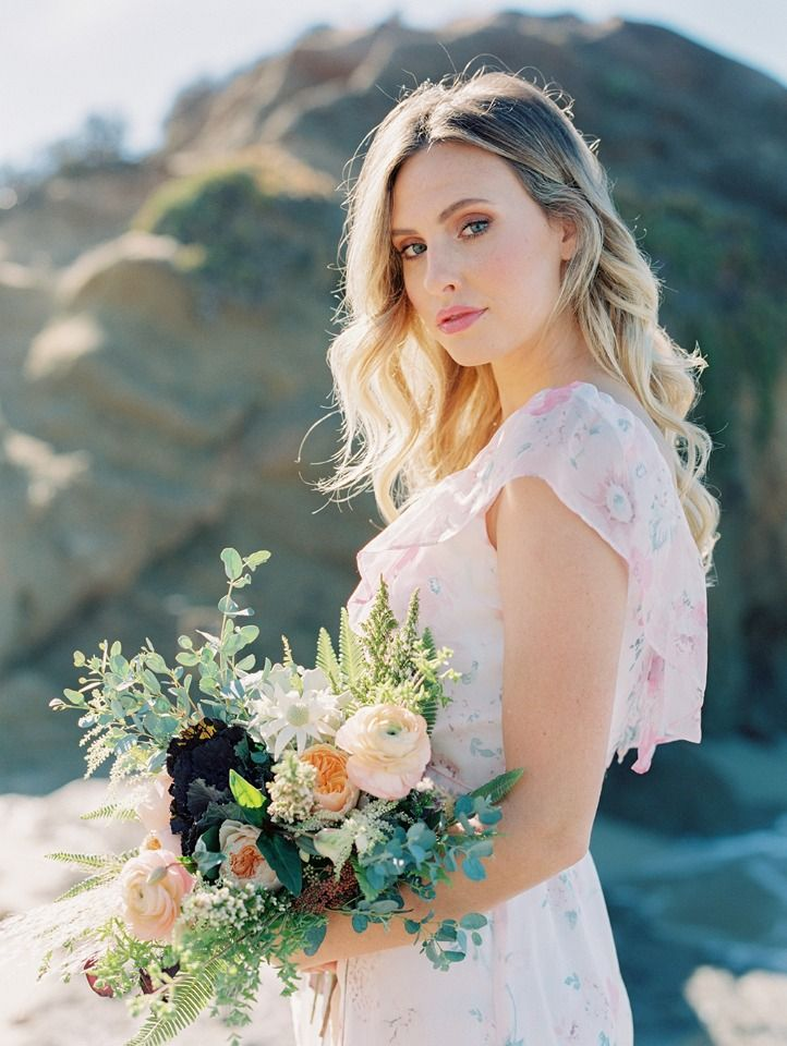floral bridesmaid dresses and beachy bouquet