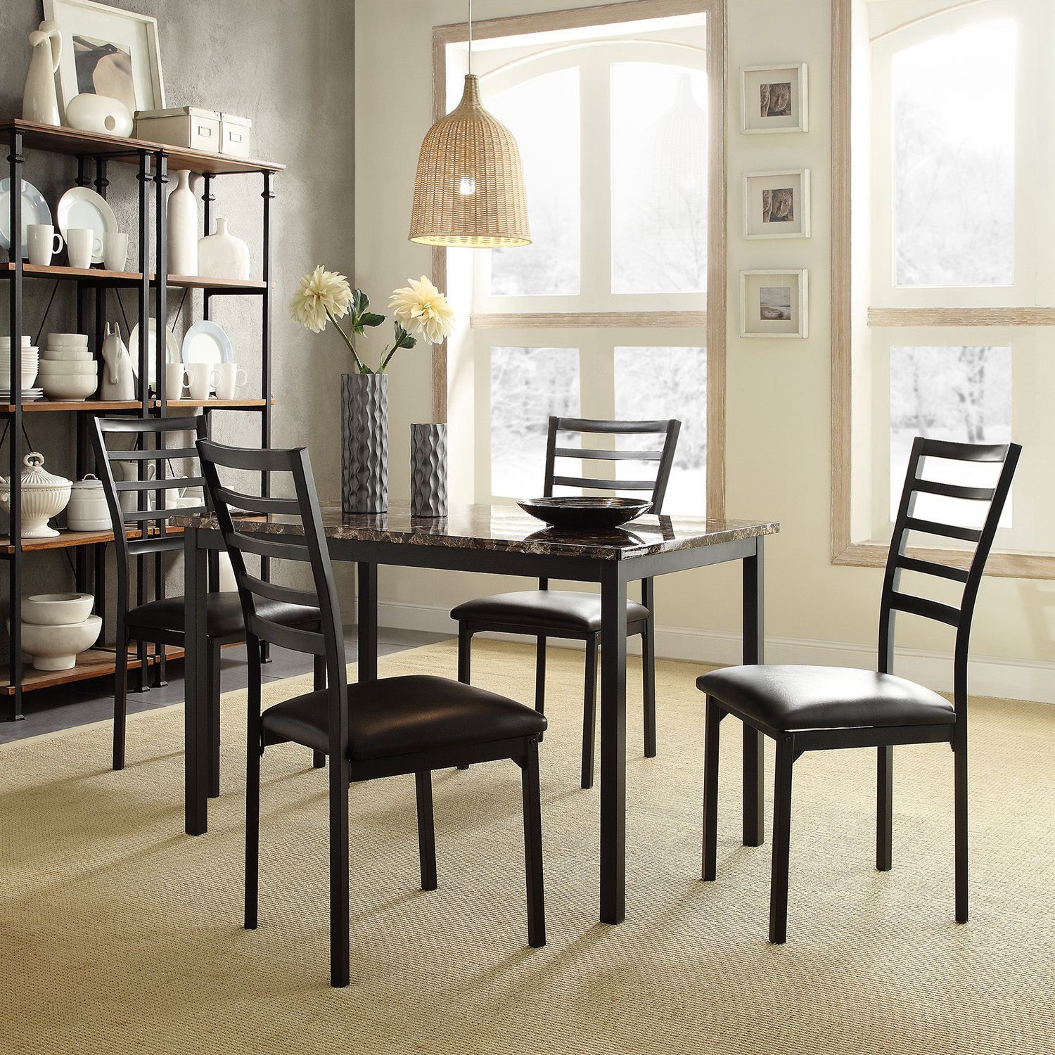 Add simplistic elegance to your dining room decor with this casual dining  set. The sleek