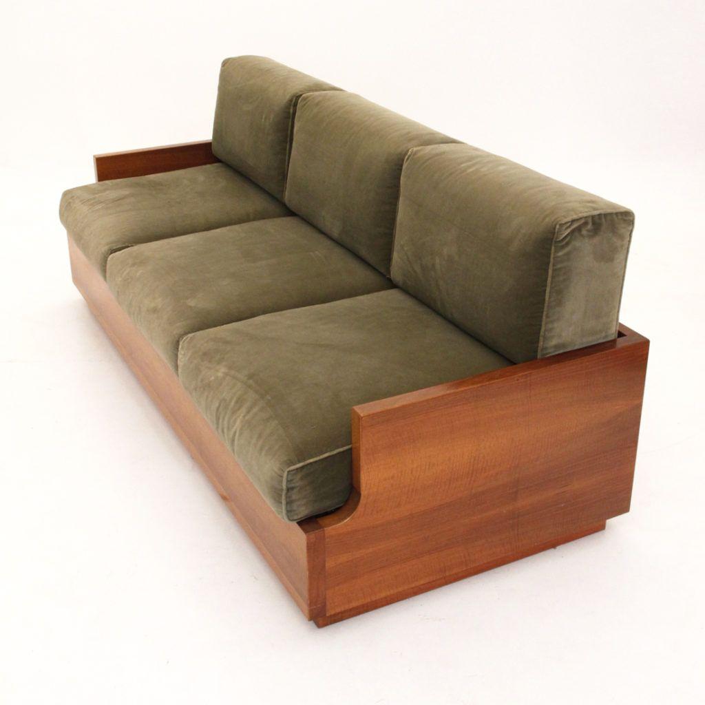 Divano letto anni 60/70 velluto e legno, sofa bed, vintage, velvet ...