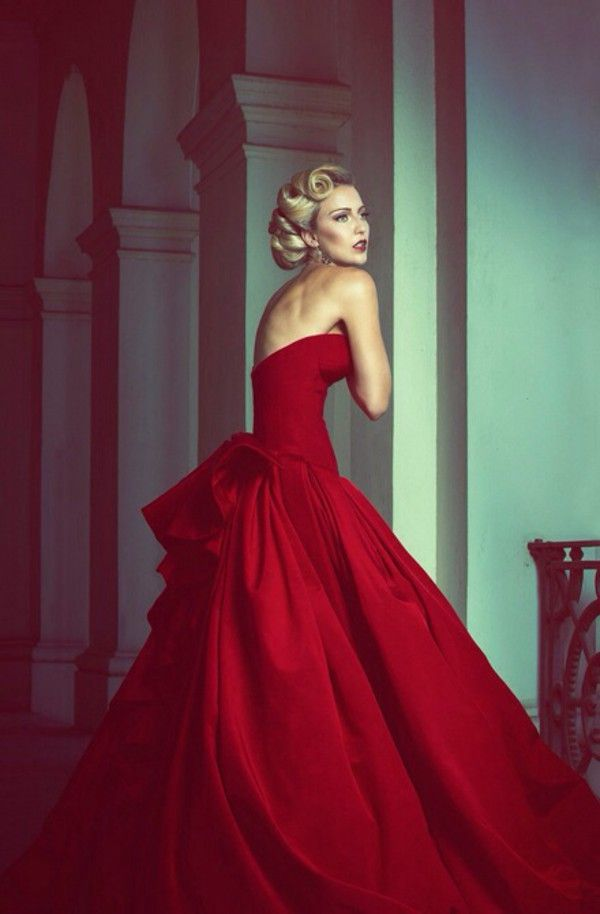 classic vintage red ball gown