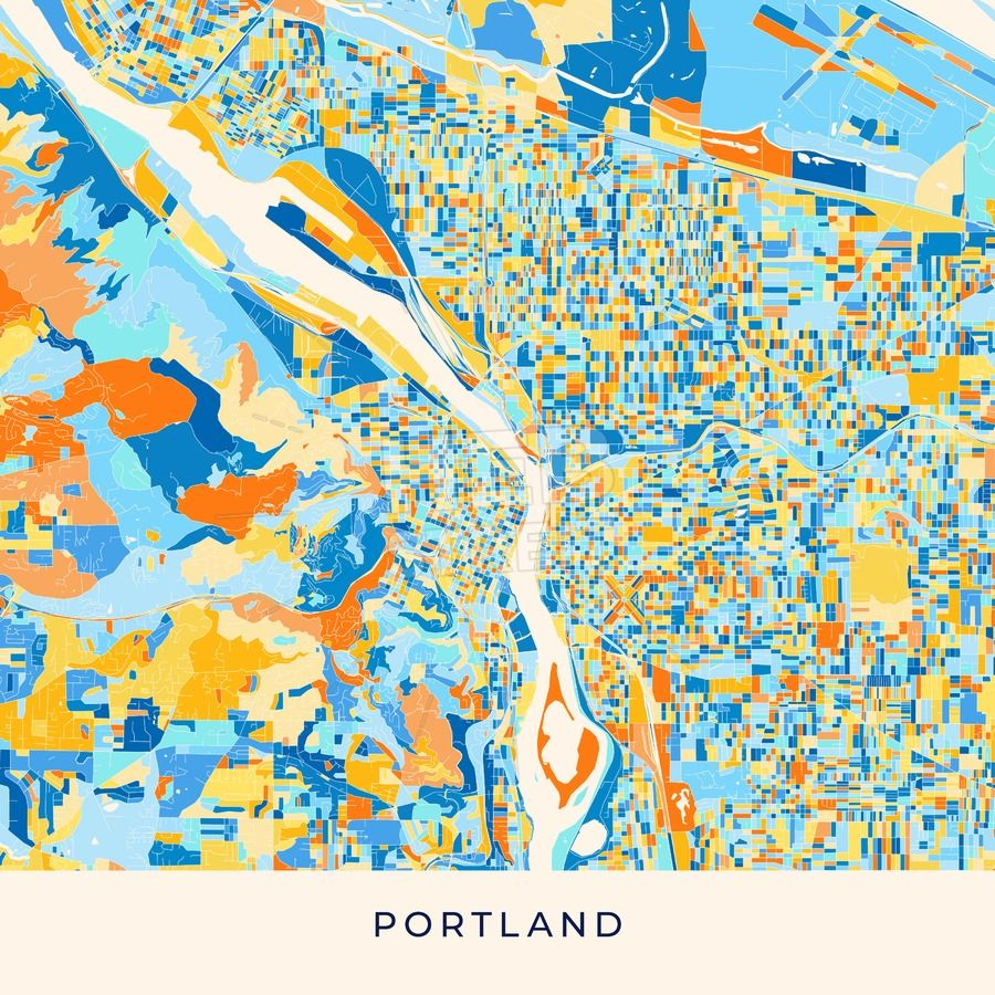 Portland colorful map poster template | Streit