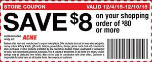SAVE $8 on your shopping order of $80 or more