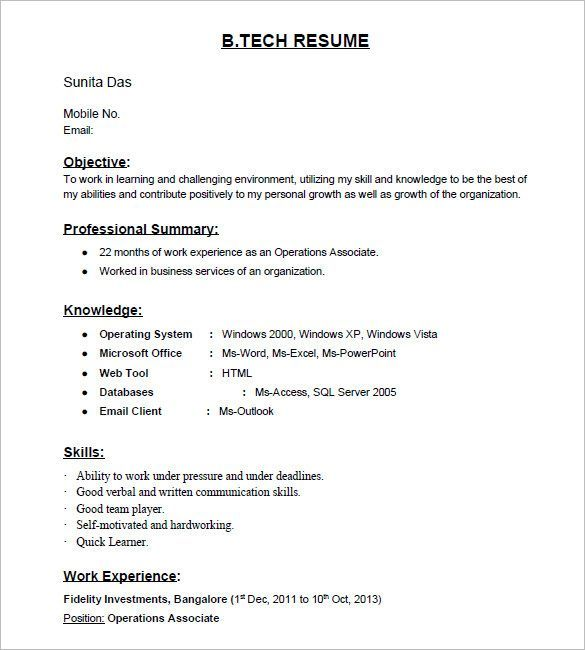 Quick Learner Resume Tech Freshers Resume Format For Experienced Sample Cover Letter Job