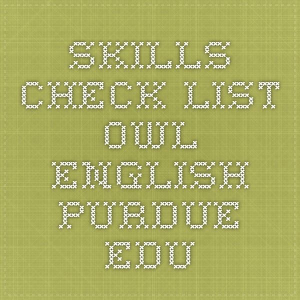 SKILLS CHECK LIST owlenglishpurdueedu RESUME WRITING - purdue owl resume