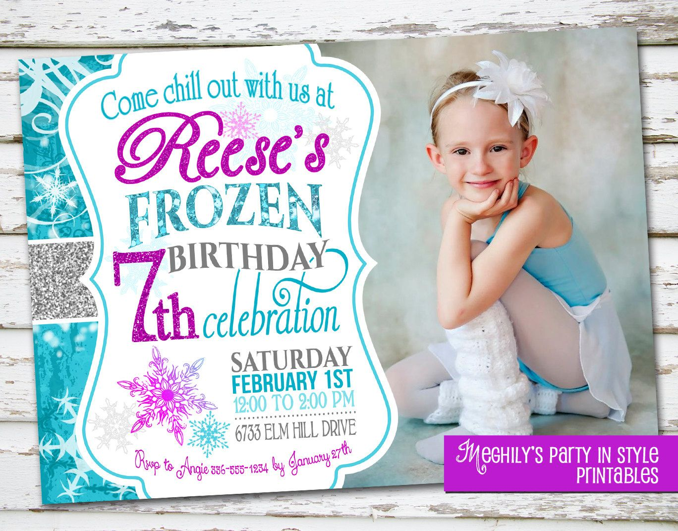 Frozen Birthday Invitation With Photo By Meghilys On Etsy 1200