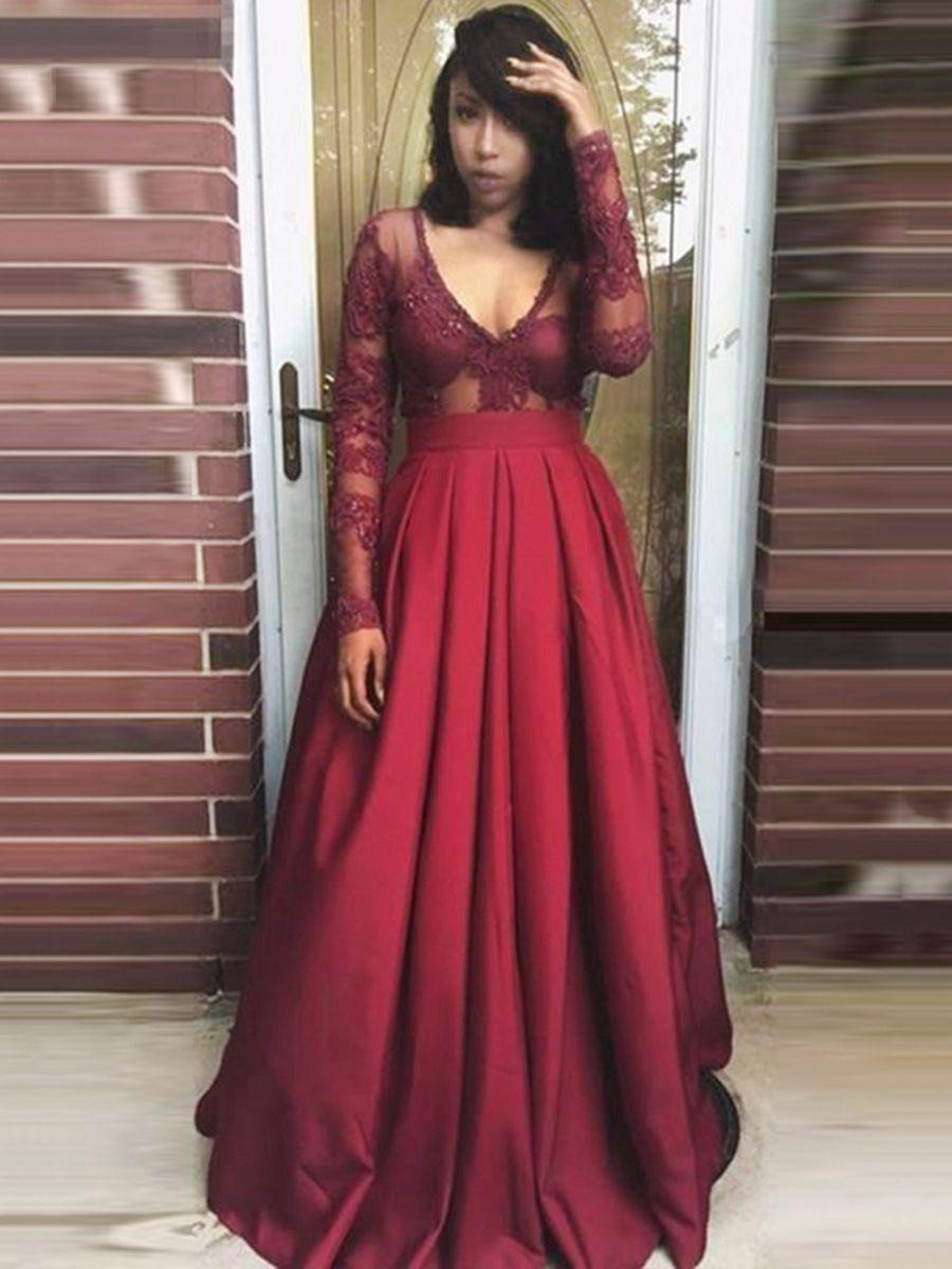 Appliques V Neck Beading Pleats Prom Dress Abendkleid Kleider Abendkleider Elegant [ 1200 x 900 Pixel ]