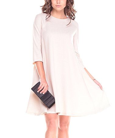 Another great find on #zulily! Light Beige Linen-Blend Shift Dress #zulilyfinds