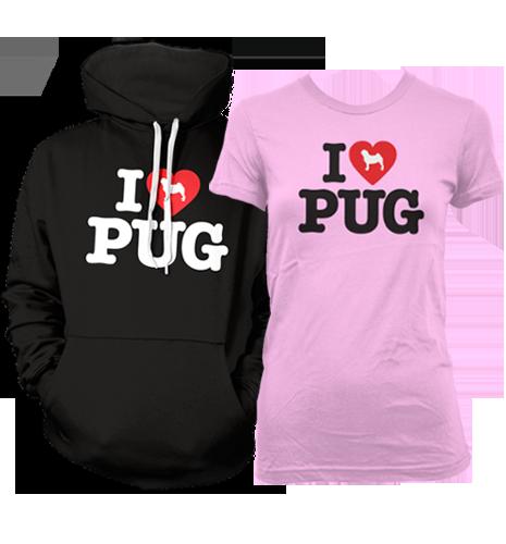 Ladies & Unisex I LOVE PUG hoodies & t-shirts available at www.ilovepugs.co.uk(post worldwide)