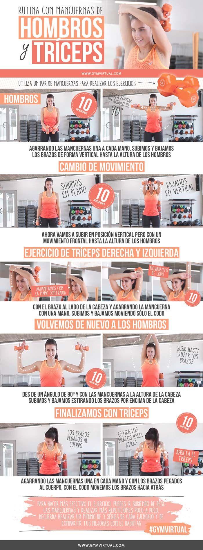 Rutina Para Hombros Y Tríceps Con Mancuernas Paso A Paso Gym Virtual Ejercicios Ejercicios Para Brazos Rutinas De Ejercicio