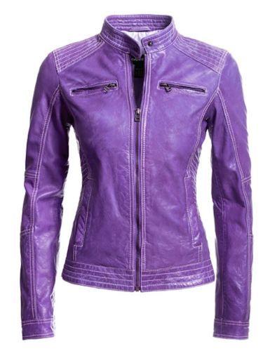 Purple Leather Jacket Womens XXS Danier Genuine Lamb Leather Moto   eBay b7ba7d15bc