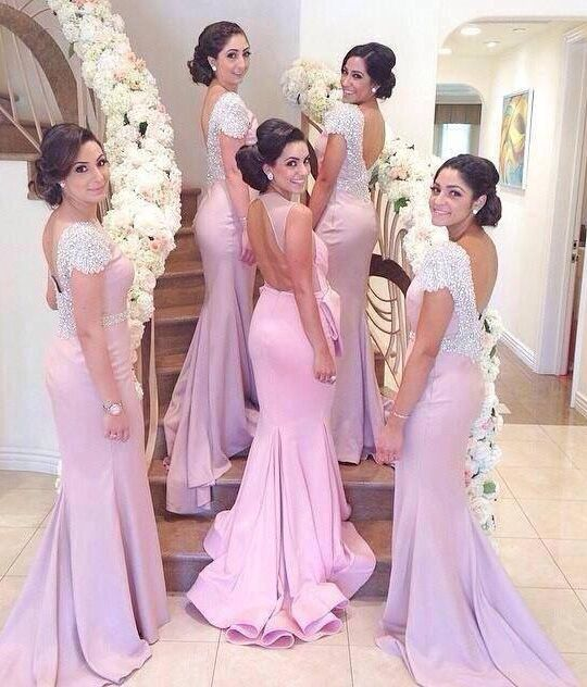 Elegant Crystal Short Sleeve Backless Sweep Train Fitted Bridesmaid ...