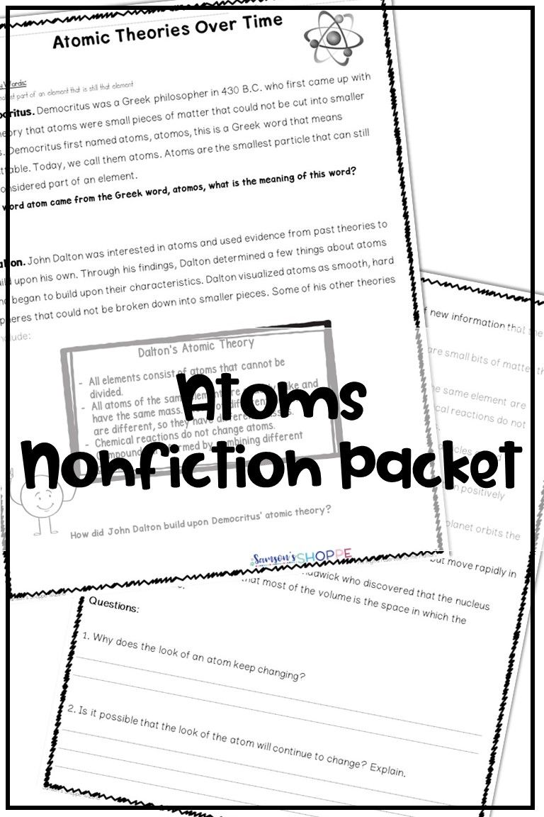 Atoms Proton Neutron Electron Atomic Theory Reading Activity Atomic Theory Upper Elementary Resources Physical Science Lessons