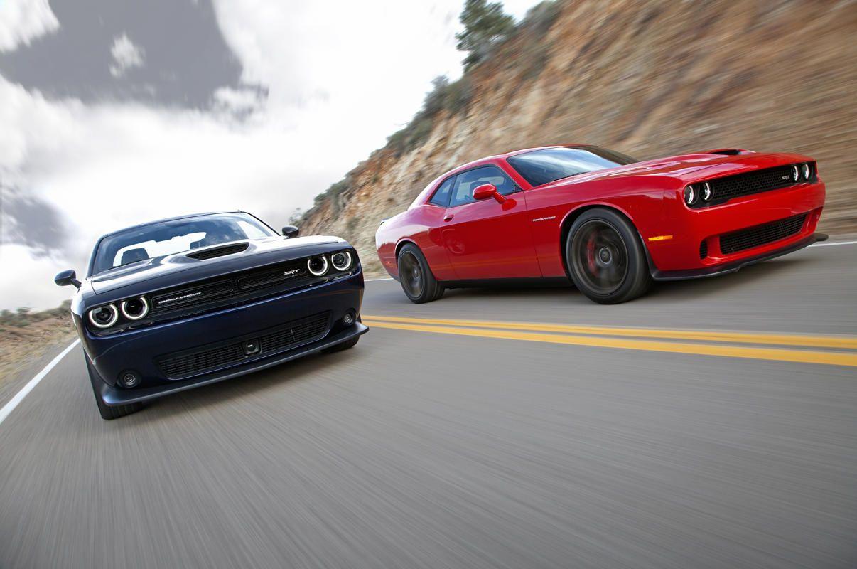 2015 Dodge Challenger SRT (left) and Dodge Challenger SRT Hellcat Supercharged (right)