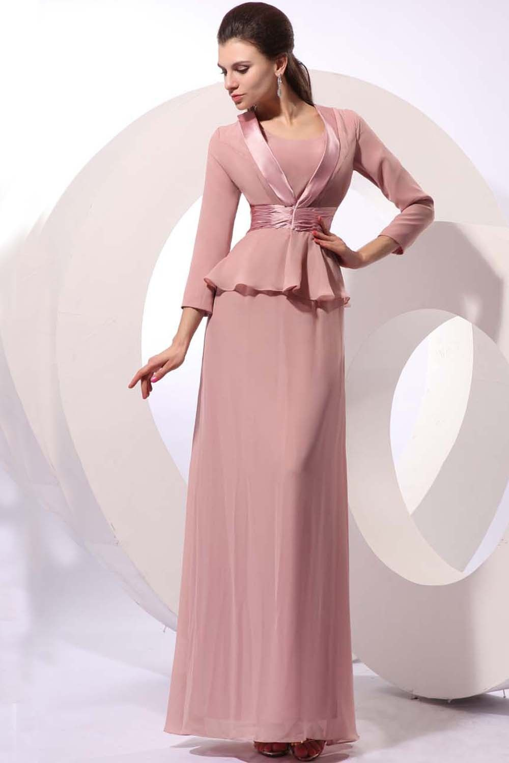 Chiffon long mother of bride dress with jacket mother of the bride