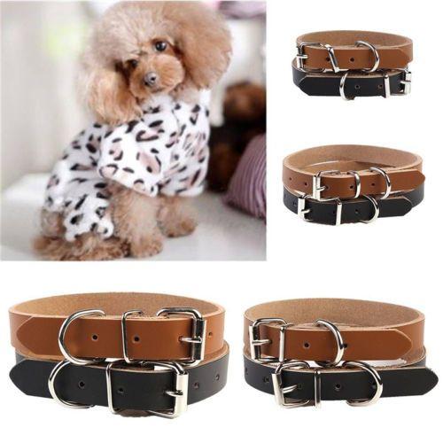 1-x-Haustier-Kunstleder-Halskragen-Halsband-verschiedene-Hund-Katze-Geschenk