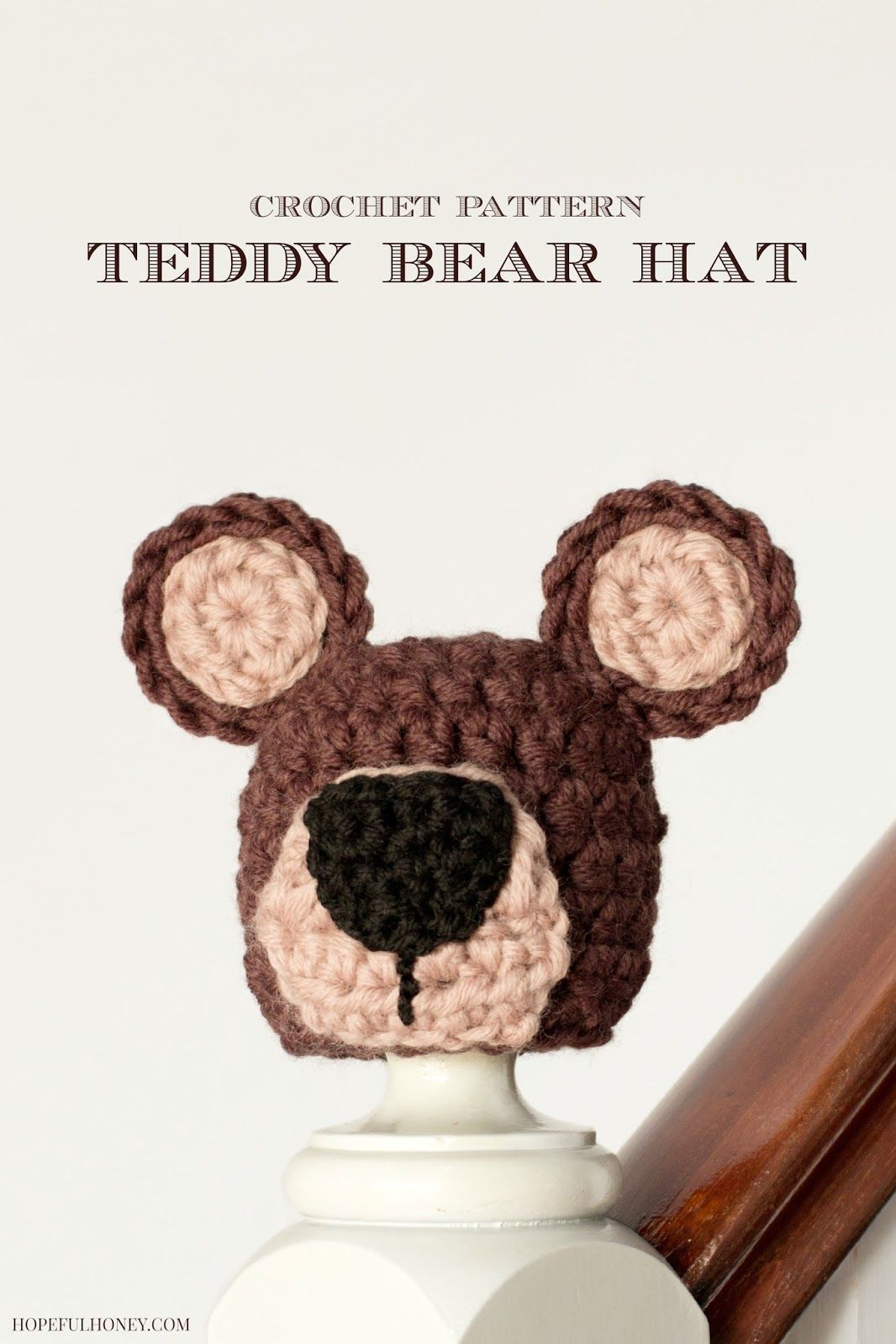 Newborn Teddy Bear Hat Crochet Pattern (Hopeful Honey | Patrones ...