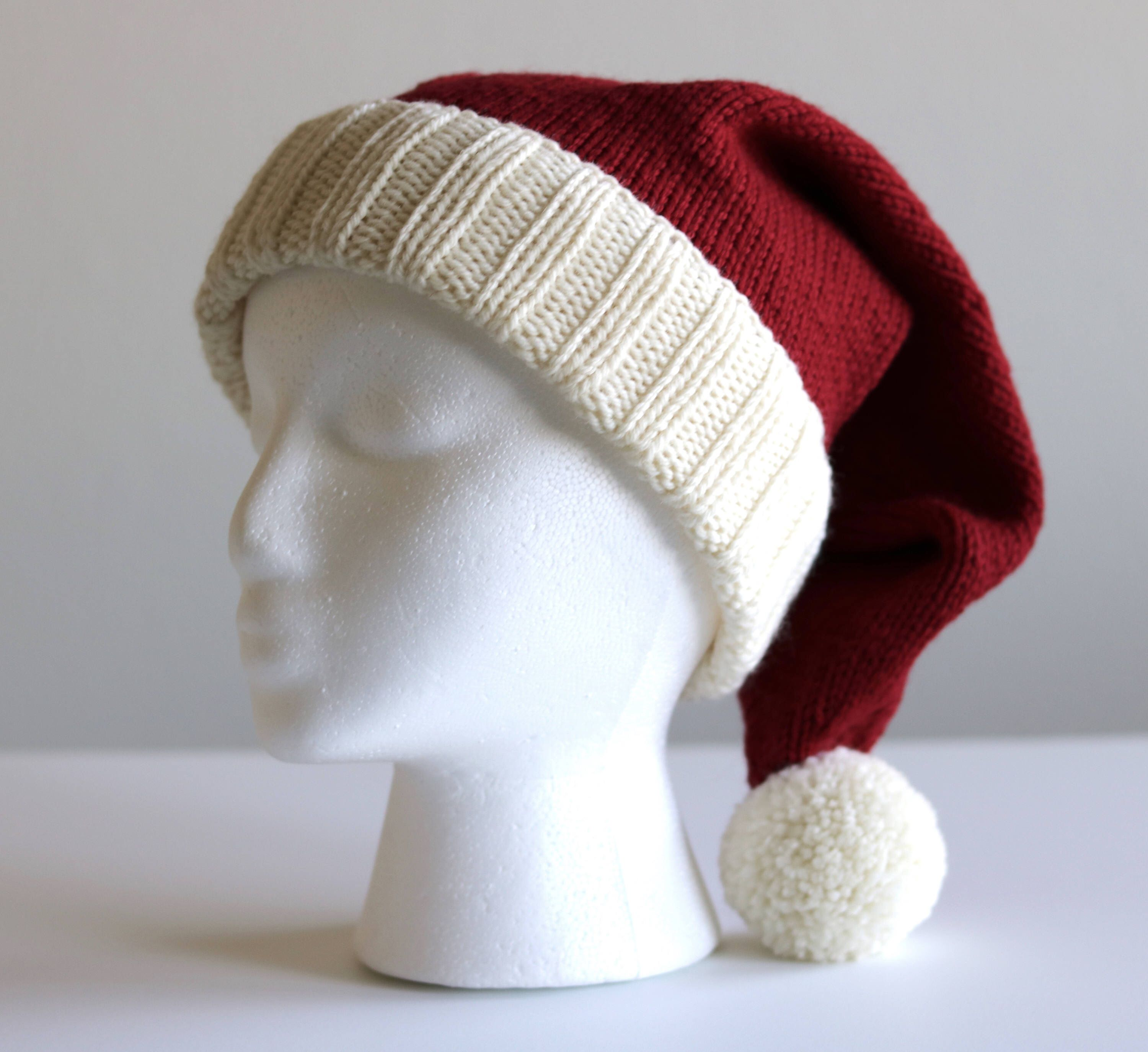 Adult Knit Santa Hat, Knitted Christmas hat, Santa Claus costume ...