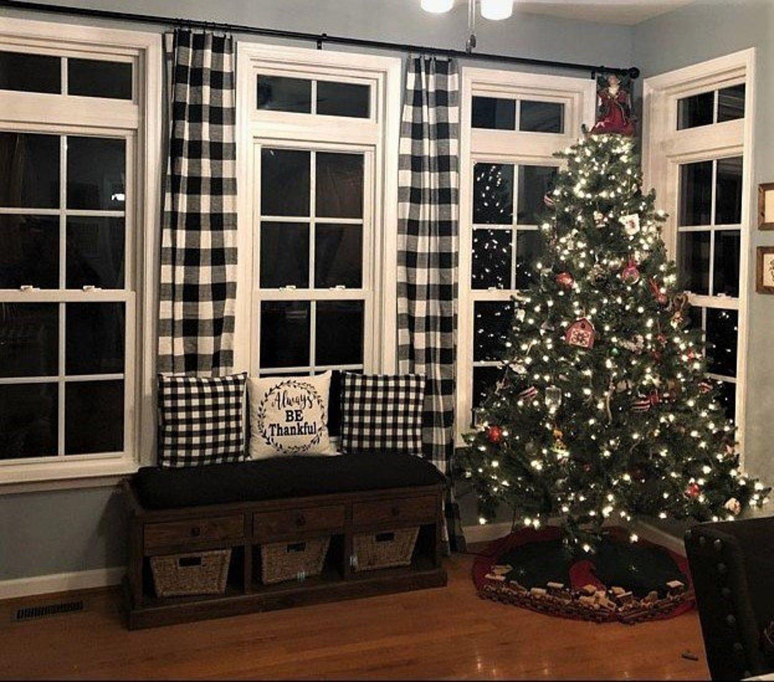 Black and White Buffalo Check Curtains Farmhouse Plaid