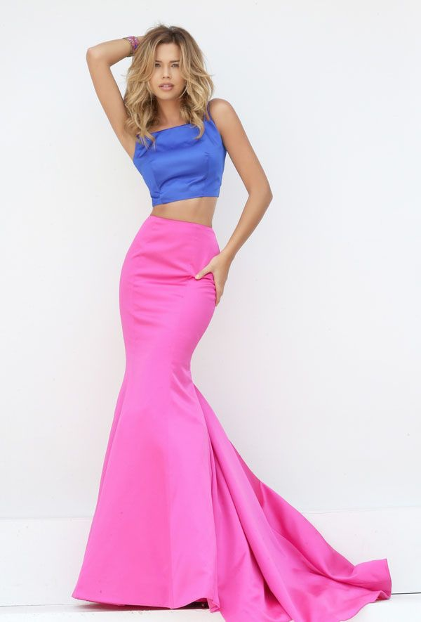 Crop top two-piece long prom dress matches a mermaid satin skirt ...