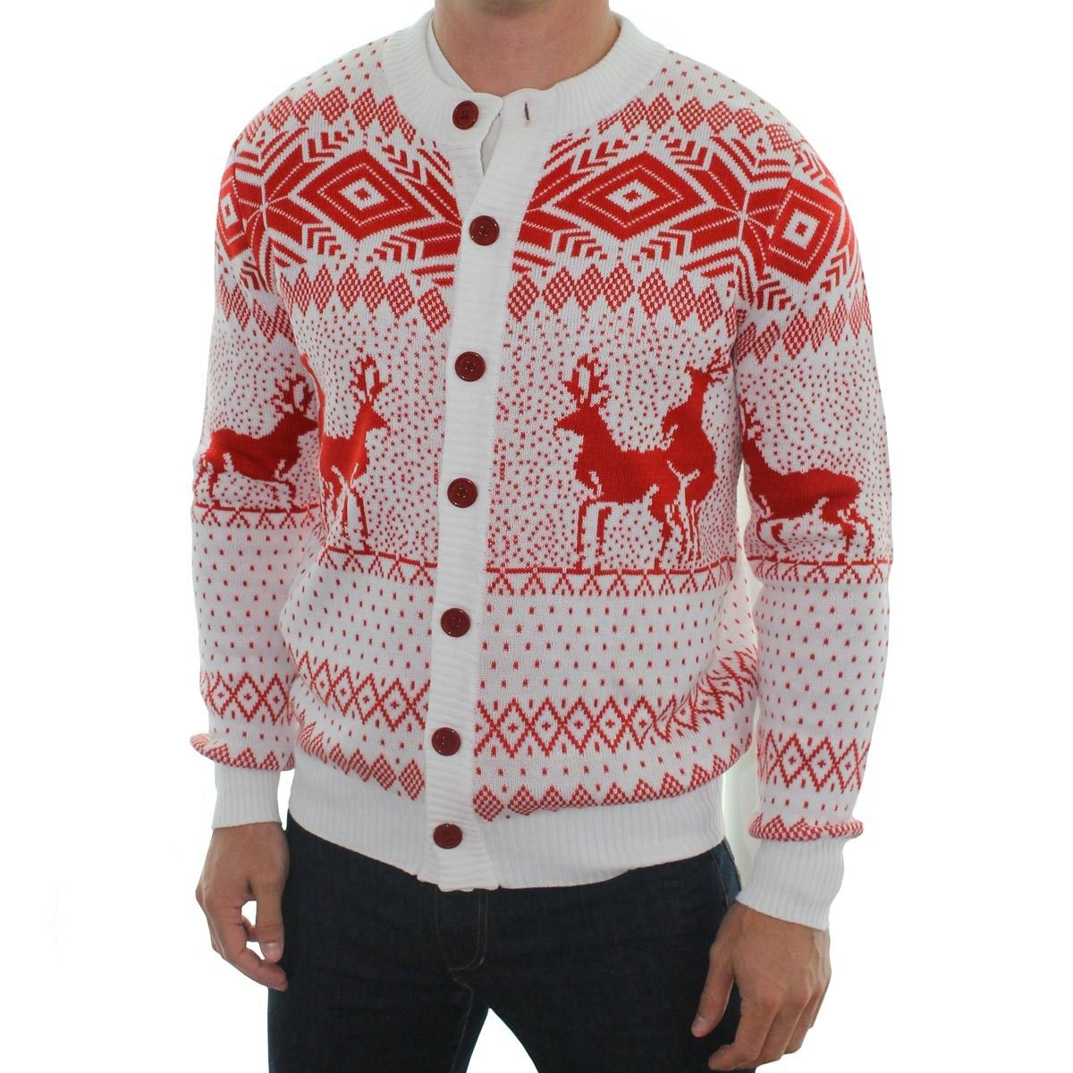 Men's Reindeer Double Date Cardigan (White) | Tipsy elves, Ugliest ...