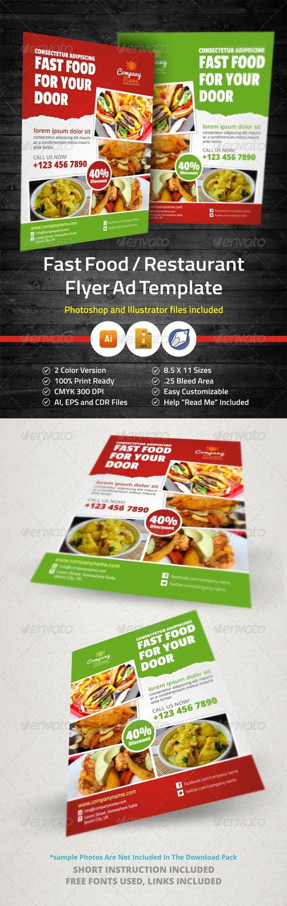 Food Menu Restaurants Flyer Ad Design V  Fast Food Restaurant