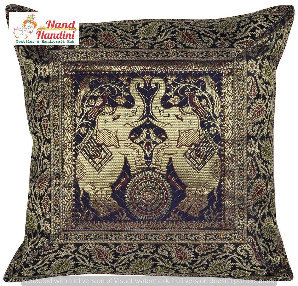 Indian black elephant pillow throw sofa silk brocade home decor