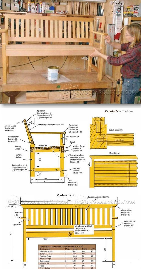 Outdoor Wood Bench Plans | Planos de muebles, Planos y Sillas