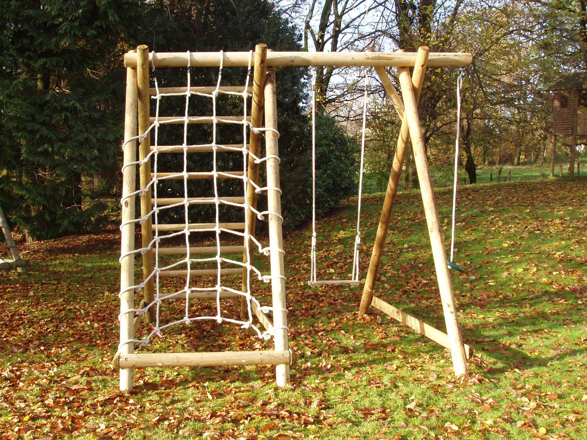 Single Swing Frame With Extension And Cargo Net Climbing Frames