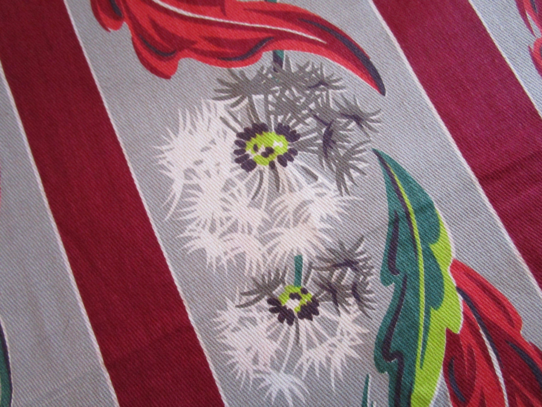 Vintage 1940 S 50 S Red Wine Green Grey Chartreuse Dandelion Stripe Barkcloth Era Cotton Fabric Barkcloth Handmade Sewing Pattern Sizes