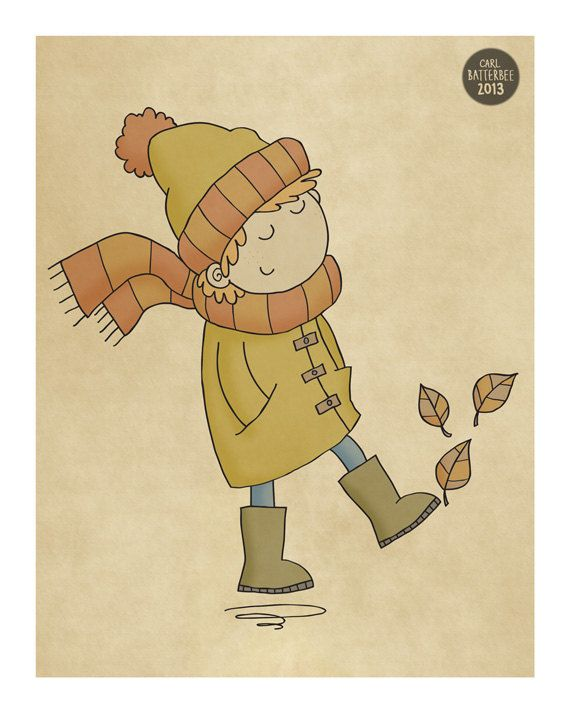 Kicking Leaves  Illustration Print by CarlBatterbee on Etsy, £6.99