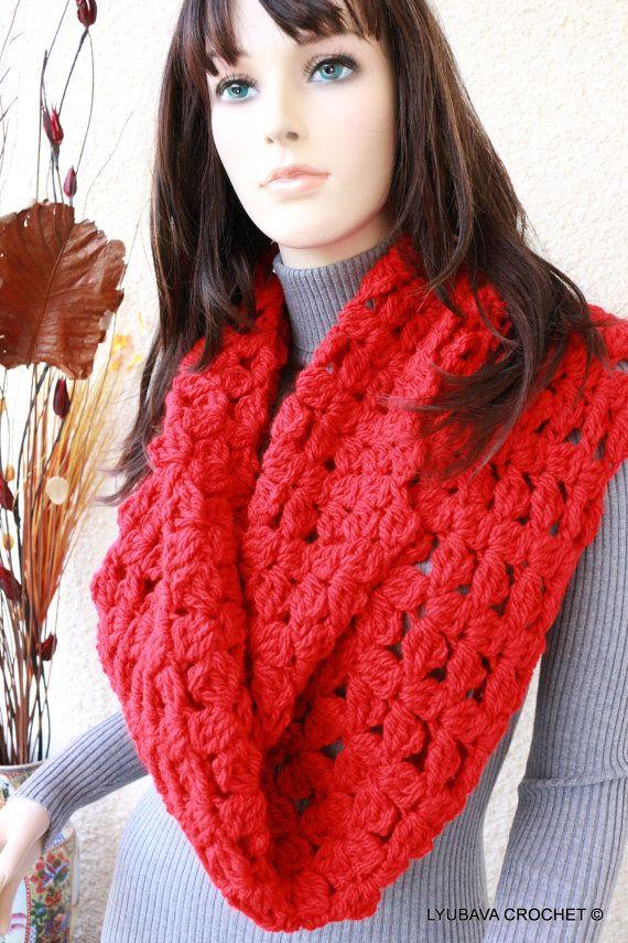 Knit Scarf, Chunky Scarf, Red Scarf, Infinity Scarf, Women\'s Crochet ...