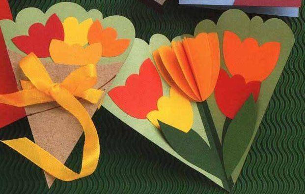 Tarjeta 3d Tulipanes Dia De La Madre Tarjetas Hechas A Mano Para Mama Ideas Para Hacer Tarjetas Manualidades