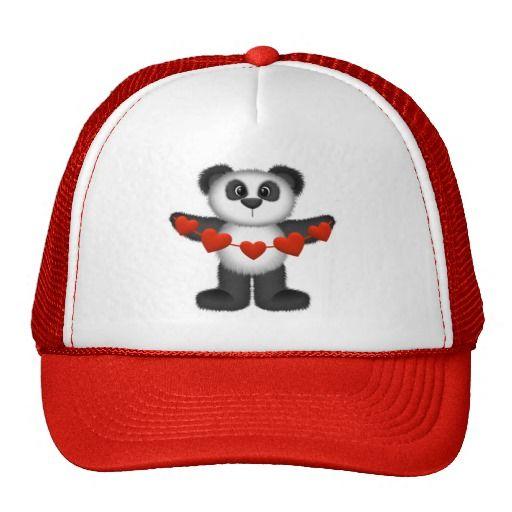427f77220 Valentine Panda Bear Holding String of Red Hearts Trucker Hat ...