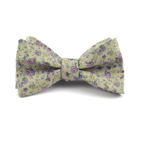 Pre tied bow tie - Flowers in beige, white, orange & purple Notch