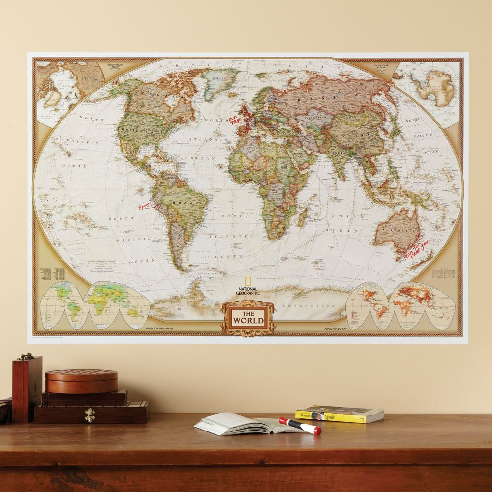 Repositionable world map earth toned map earth dining room repositionable world map earth toned national geographic store gumiabroncs Gallery