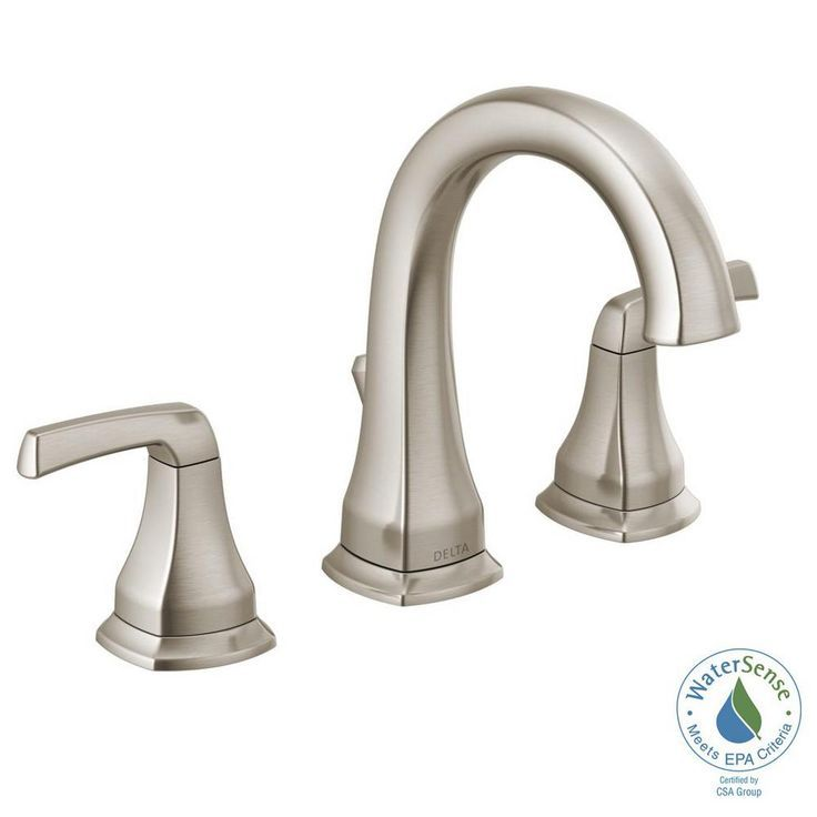 Photo of Delta Portwood 8 inches. Widely used 2-handle bathroom mixer in SpotShield Brushed N …