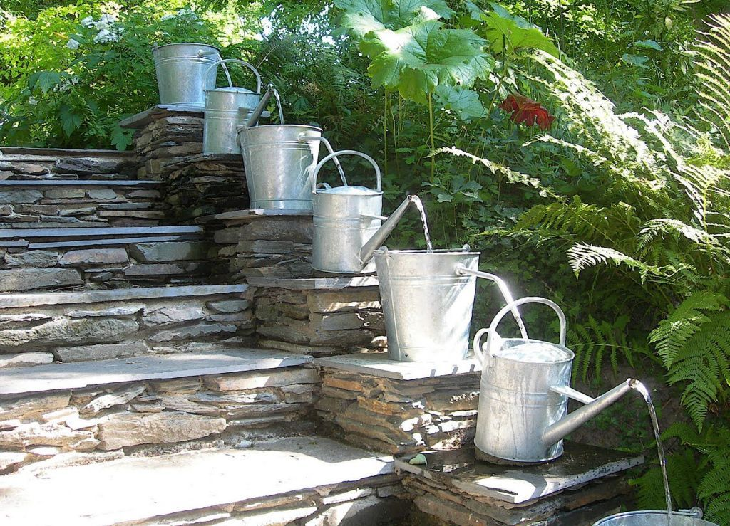 Outdoor Water Fountains With Natural Stone Stairs More
