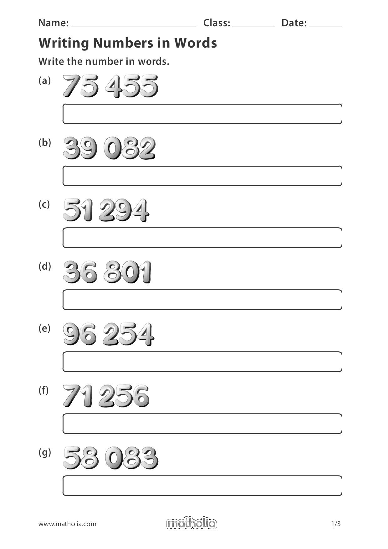 Writing Numbers In Words In