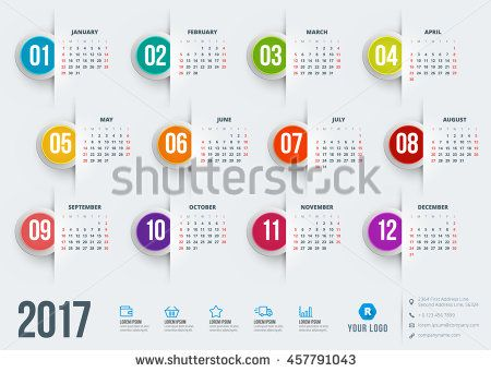 Calendar For  Year Vector Design Stationery Template Week