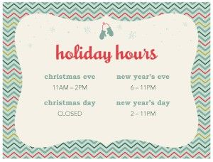 Customize Holiday Hours Flyer Holiday Christmas Chevron Hours