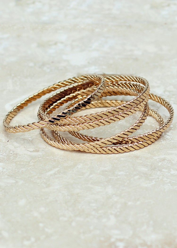 Twisted stack gold bangles gold stackable bracelets twisted