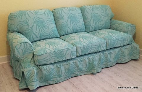 Fiji Turquoise Palm Frond Sofa Slipcover Washable Fabric From