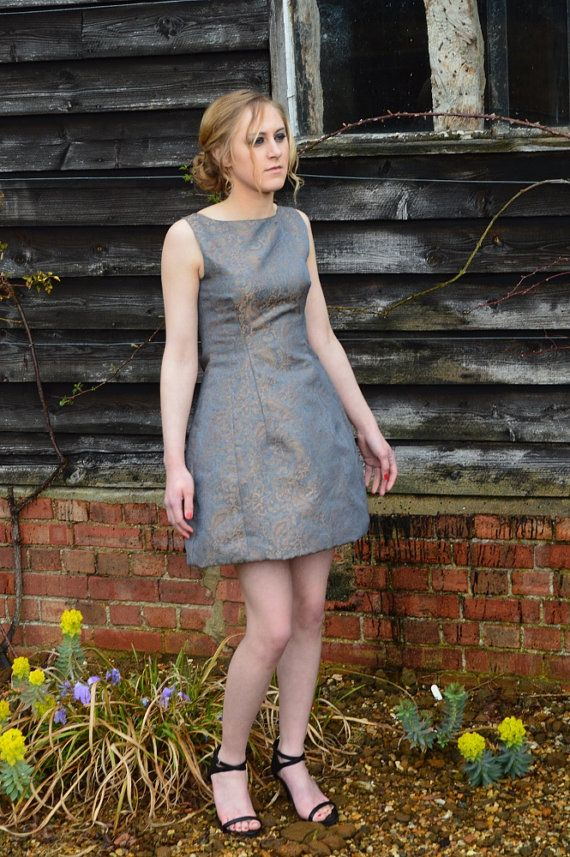 Grey paisley printed Jacquard structured tulip Dress by ROSAvelt on Etsy, £119.00