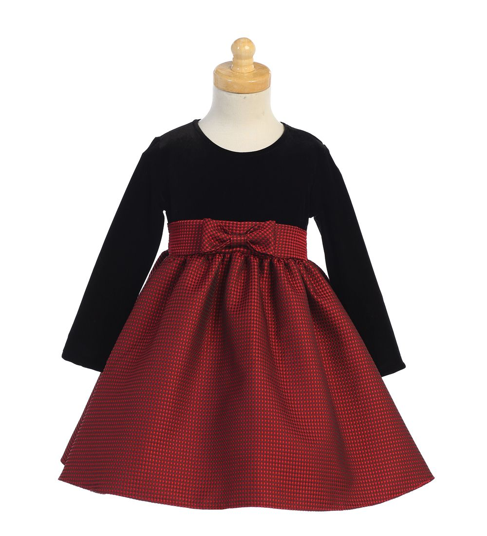 New Flower Girls Black Velvet Red Dress Baby Wedding Easter Christmas Party 525